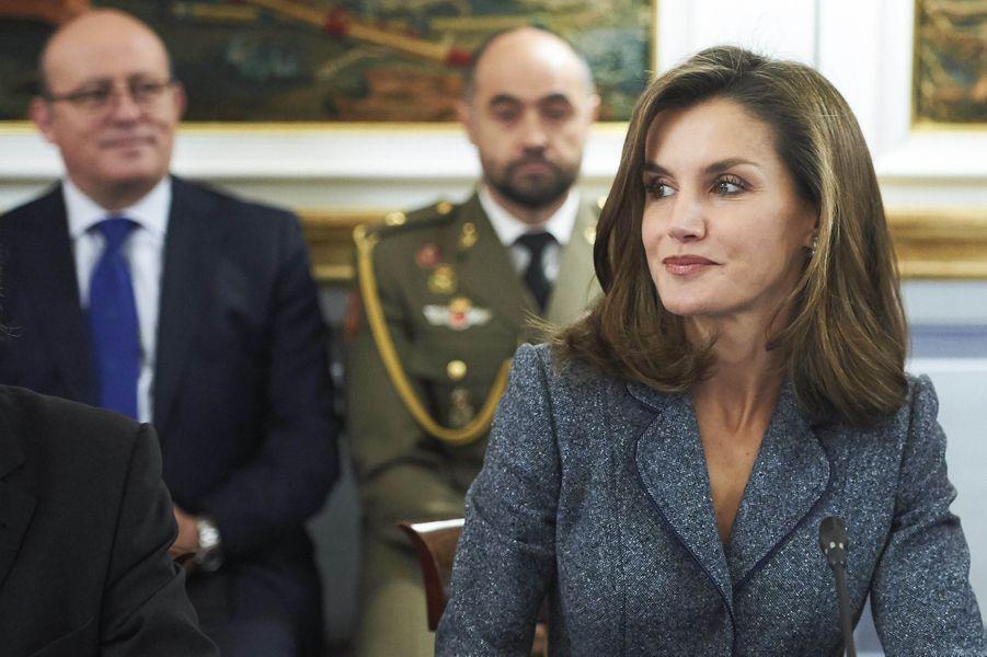 La reine Letizia d'Espagne au palais du Pardo à Madrid, le 21 novembre 2017