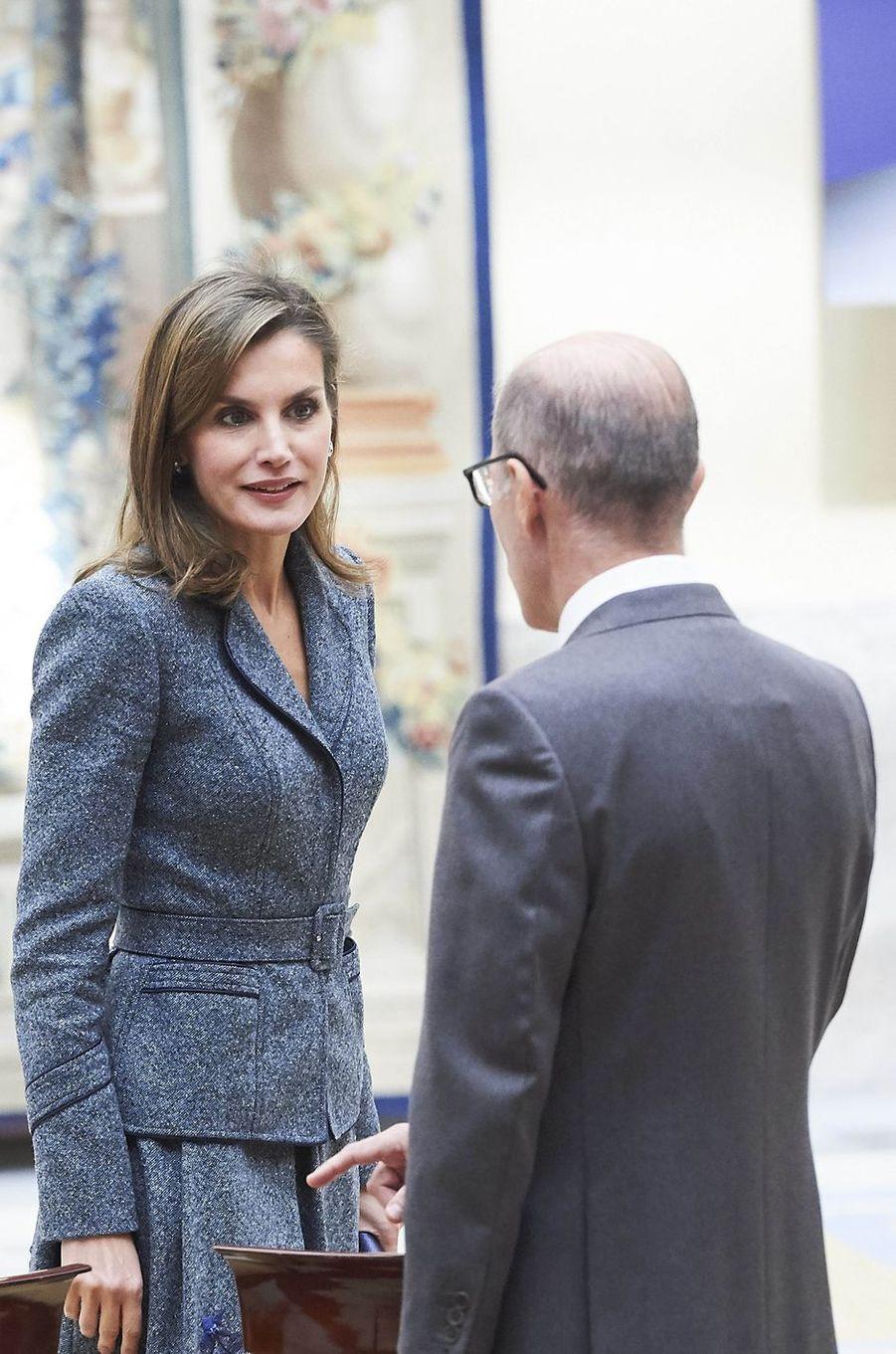 La reine Letizia d'Espagne à Madrid, le 21 novembre 2017