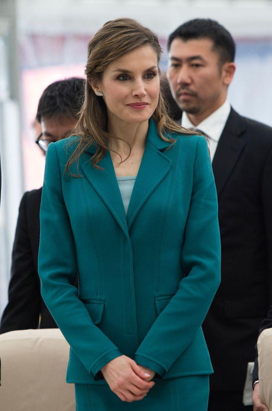 La reine Letizia d'Espagne à Shizuoka, le 7 avril 2017