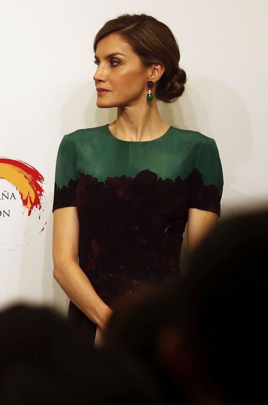 La reine Letizia d'Espagne en Carolina Herrera à Tokyo, le 5 avril 2017