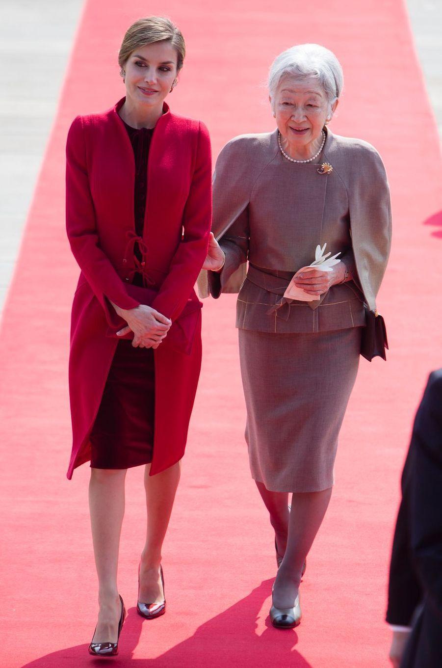 La reine Letizia d'Espagne à Tokyo, le 5 avril 2017