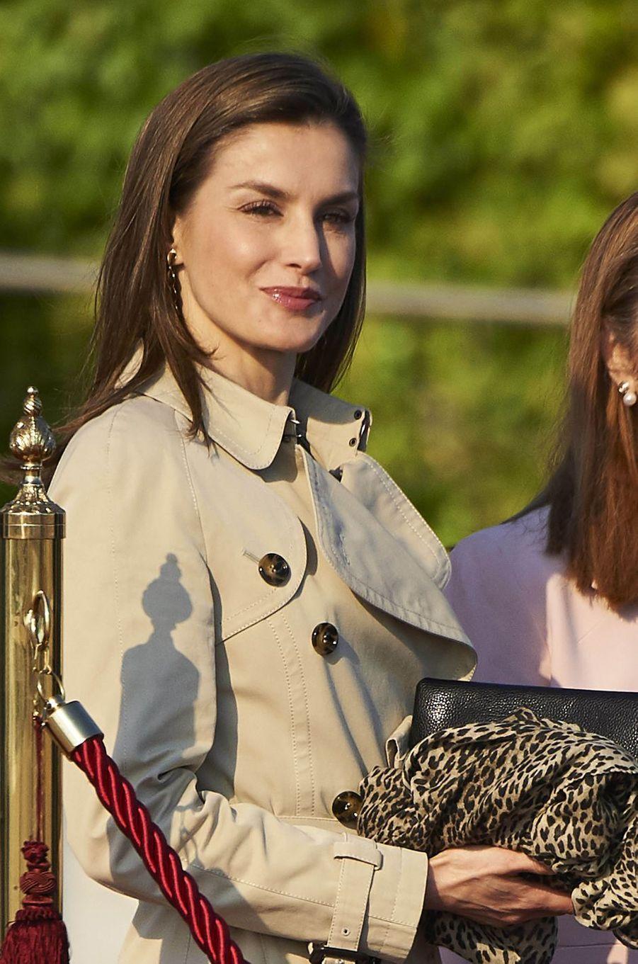 La reine Letizia d'Espagne à Madrid, le 3 avril 2017