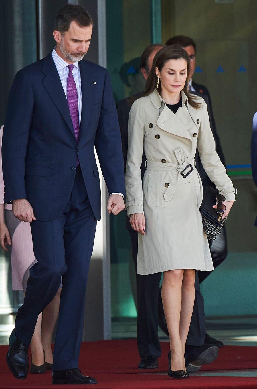 La reine Letizia d'Espagne à son départ de Madrid pour le Japon, le 3 avril 2017