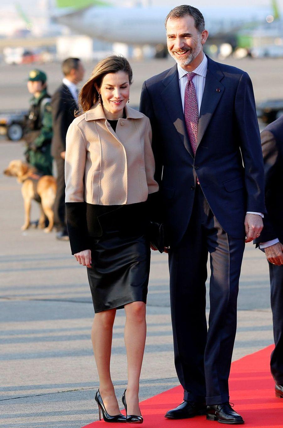 La reine Letizia d'Espagne à Tokyo, le 4 avril 2017