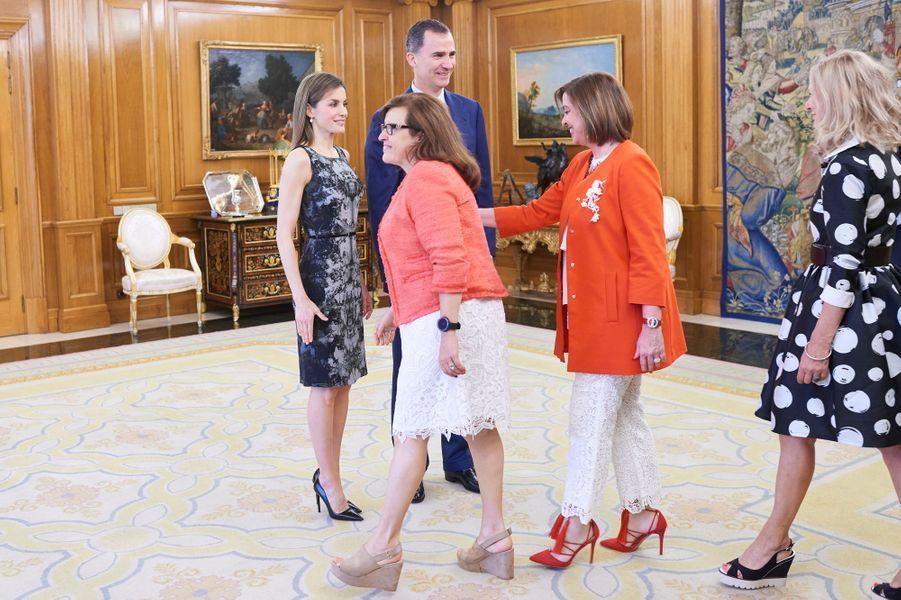 La reine Letizia et le roi Felipe VI d'Espagne à Madrid, le 6 juin 2016