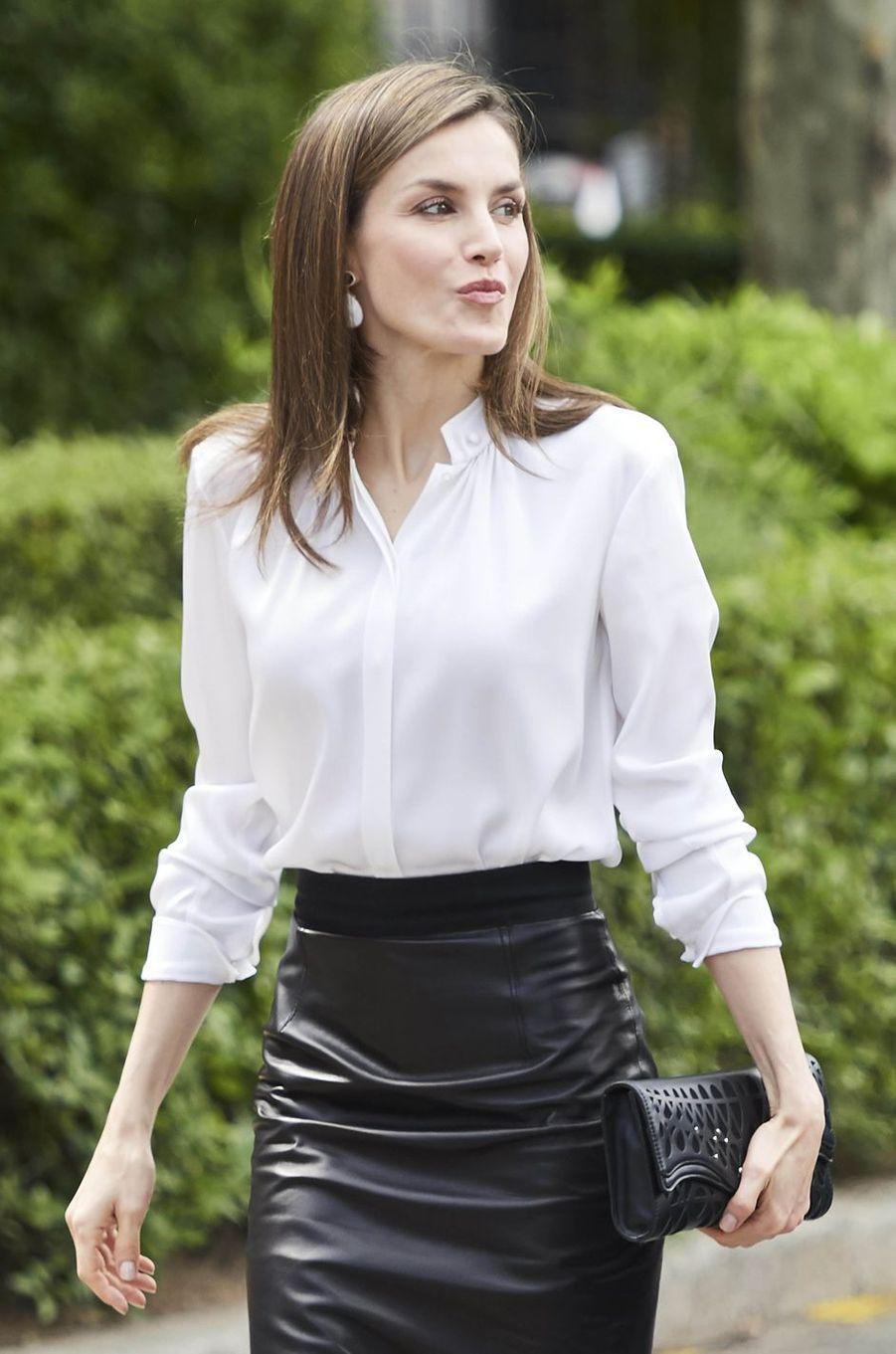 La reine Letizia d'Espagne à Madrid, le 4 mai 2017