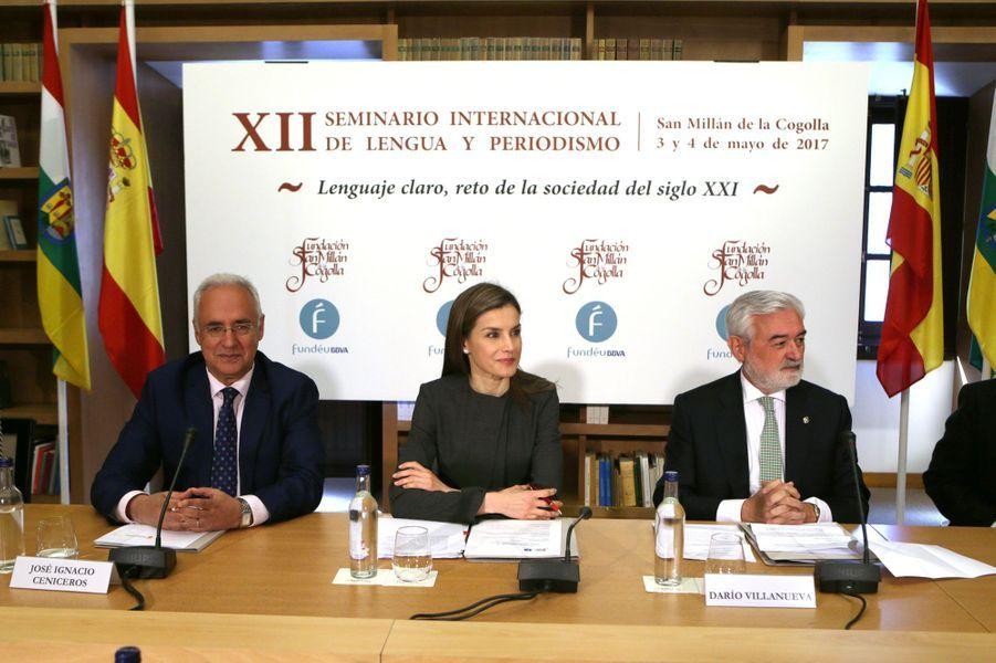 La reine Letizia d'Espagne à un colloque au monastère de Yuzo à San Millán de la Cogolla, le 3 mai 2017