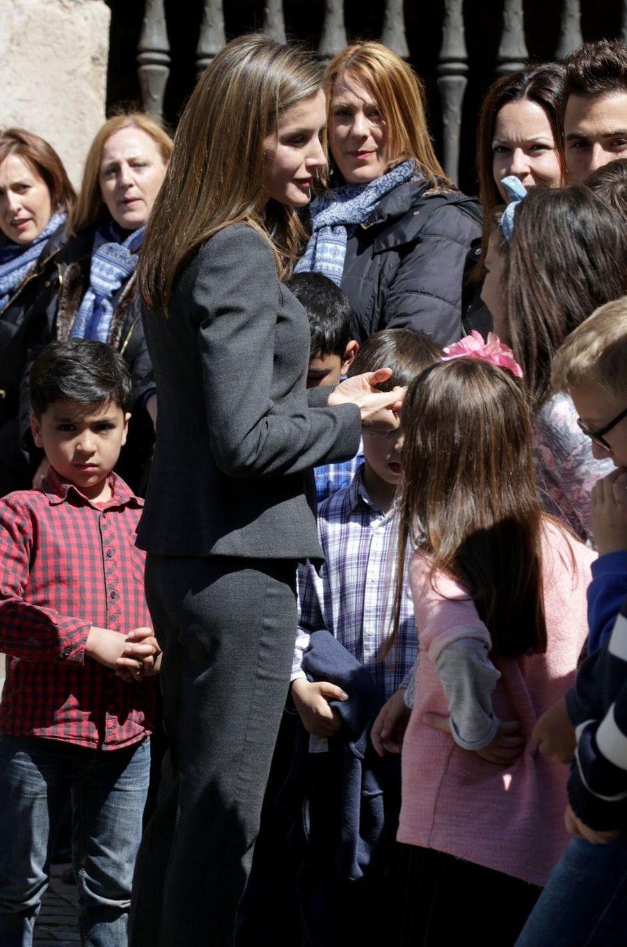 La reine Letizia d'Espagne à San Millán de la Cogolla, le 3 mai 2017
