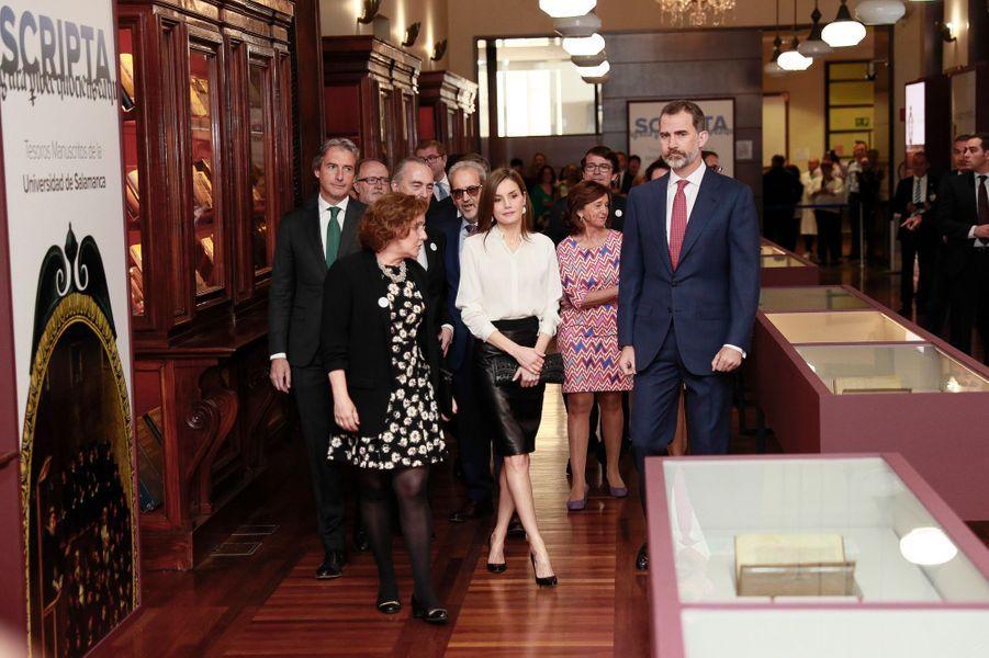 La reine Letizia et le roi Felipe VI d'Espagne à Madrid, le 4 mai 2017