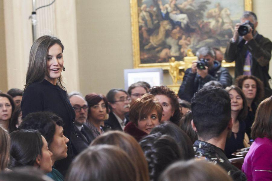 La reine Letizia d'Espagne à Madrid, le 9 février 2018