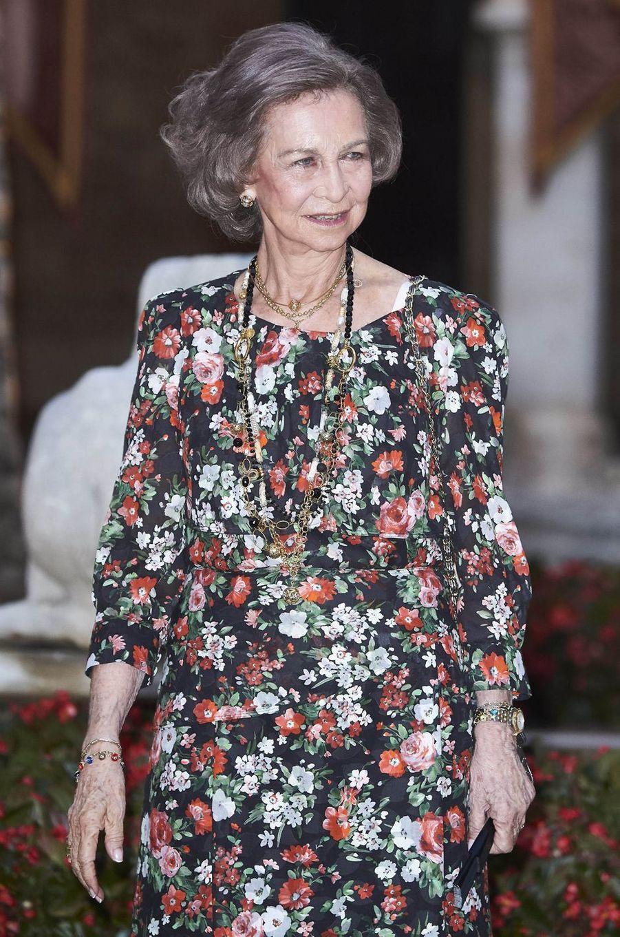 L'ex-reine Sofia d'Espagne à Palma de Majorque, le 4 août 2017