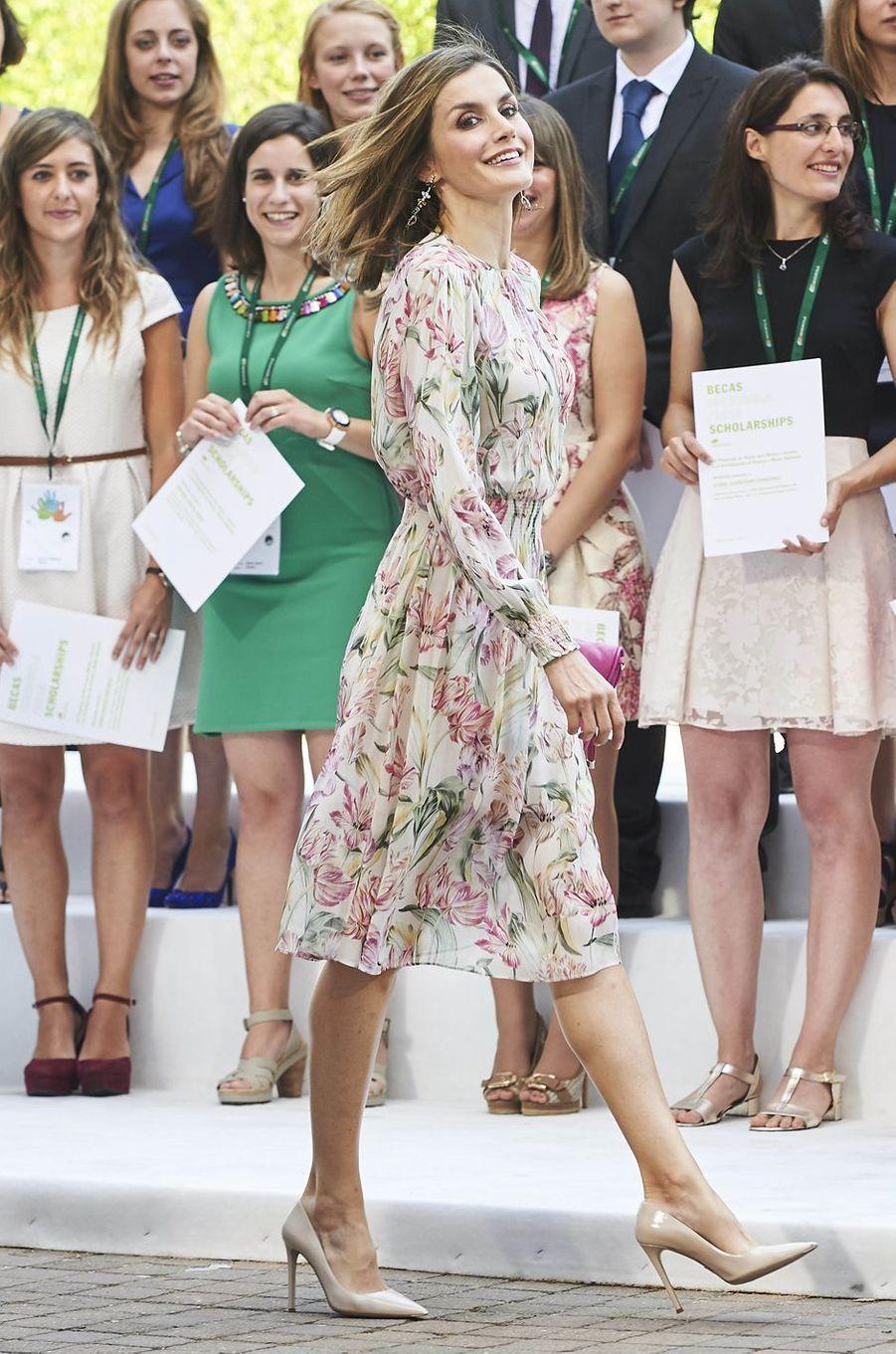 La reine Letizia d'Espagne à Madrid, le 5 juillet 2016