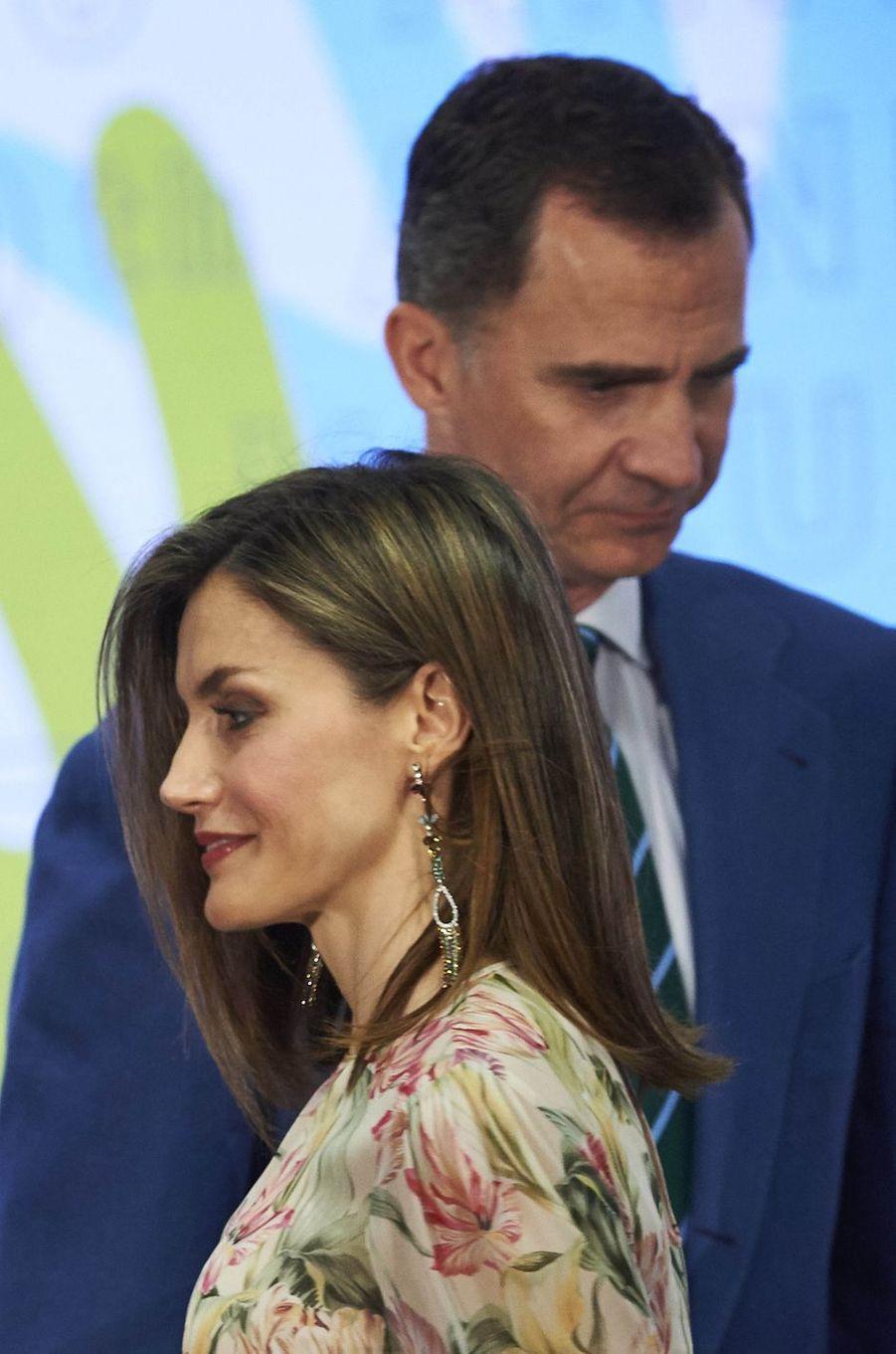 La reine Letizia et le roi Felipe VI d'Espagne à Madrid, le 5 juillet 2016