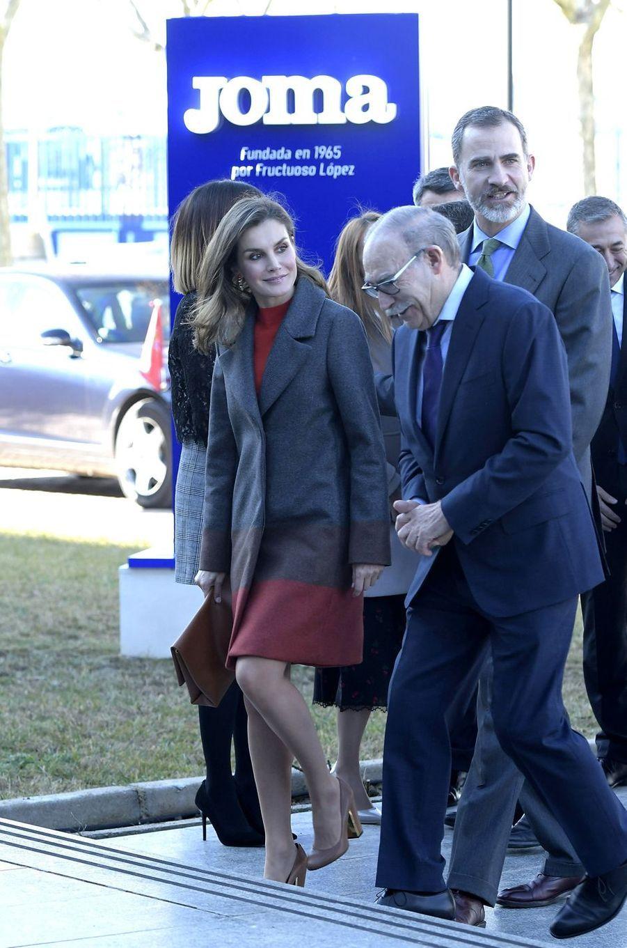 La reine Letizia, en Hugo Boss, et le roi Felipe VI d'Espagne à Portillo de Toledo, le 19 janvier 2018