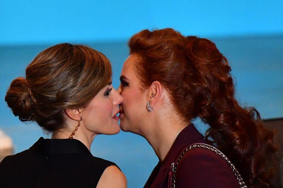 La reine Letizia d'Espagne et la princesse Lalla Salma du Maroc se retrouvent à Paris, le 31 octobre 2016