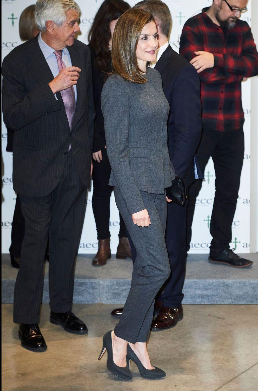 La reine Letizia d'Espagne à Madrid, le 2 février 2017