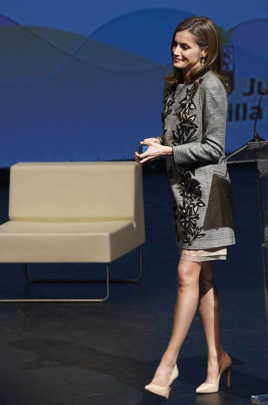 La reine Letizia d'Espagne à Avila, le 1er mars 2017
