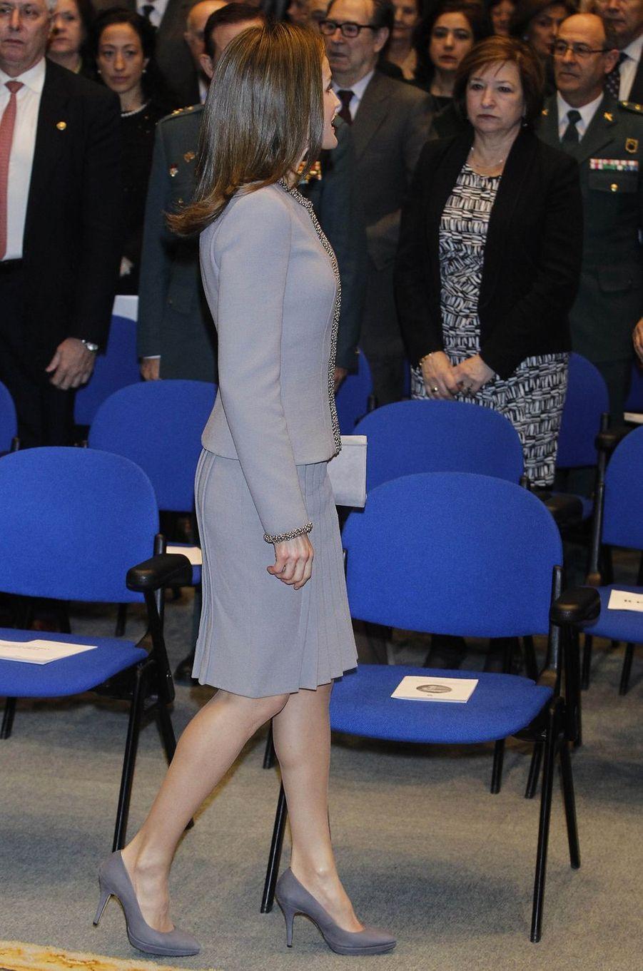 La reine Letizia d'Espagne à Madrid, le 20 janvier 2017