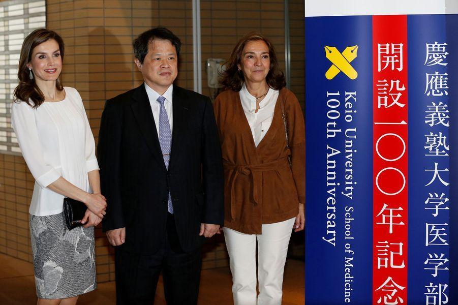 La reine Letizia d'Espagne au Japon, à Tokyo le 6 avril 2017