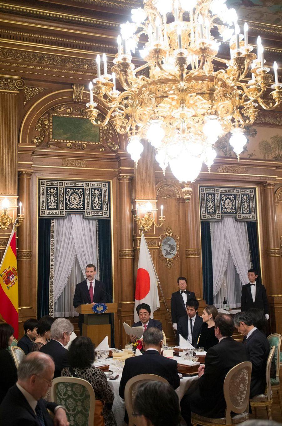 La reine Letizia et le roi Felipe VI d'Espagne à Tokyo, le 6 avril 2017