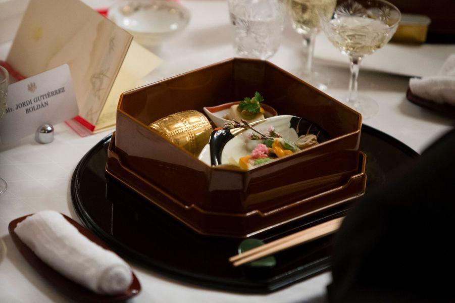 L'un des plats servis au roi Felipe VI et à la reine Letizia d'Espagne à Tokyo le 6 avril 2017