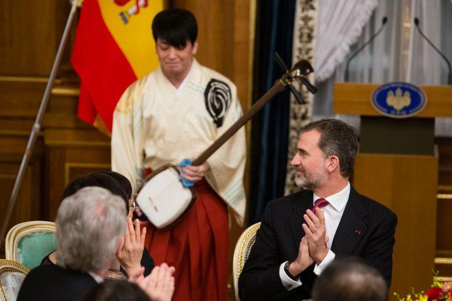 Le roi Felipe VI d'Espagne à Tokyo, le 6 avril 2017
