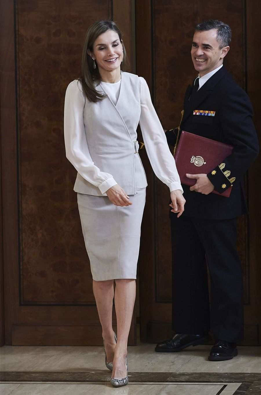La reine Letizia d'Espagne au palais de la Zarzuela à Madrid, le 12 mai 2017
