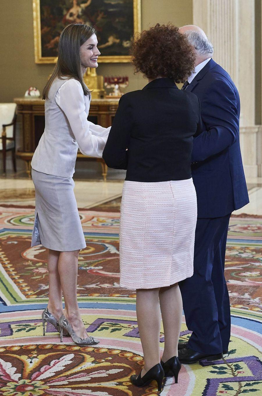 La reine Letizia d'Espagne à Madrid, le 12 mai 2017