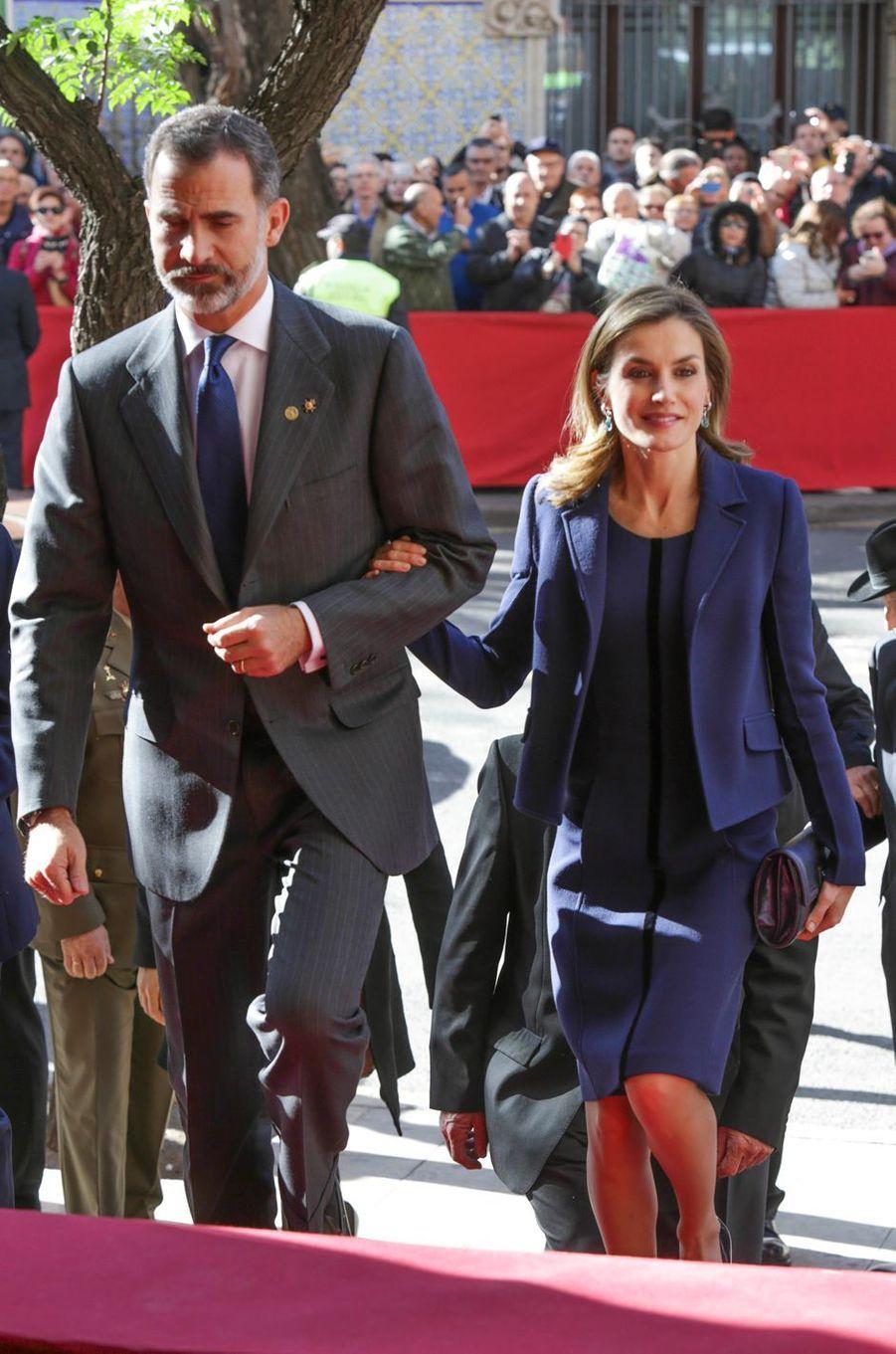 Le roi Felipe VI et la reine Letizia d'Espagne à Valence, le 24 novembre 2016