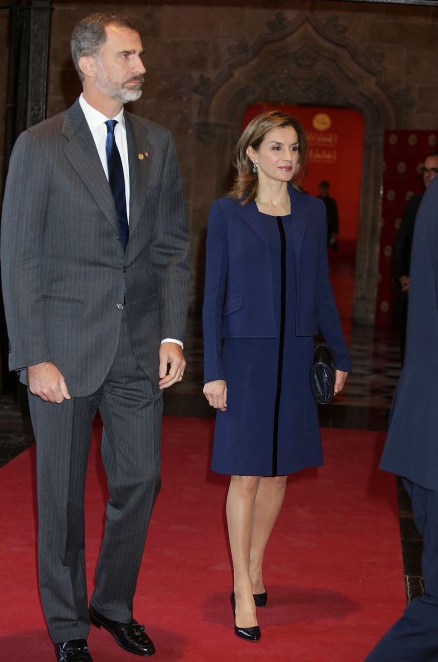 La reine Letizia et le roi Felipe VI d'Espagne à Valence, le 24 novembre 2016
