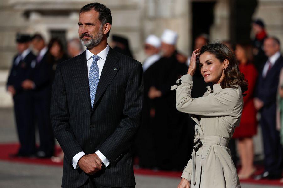 Le roi Felipe VI d'Espagne et la reine Letizia à Madrid, le 6 novembre 2017