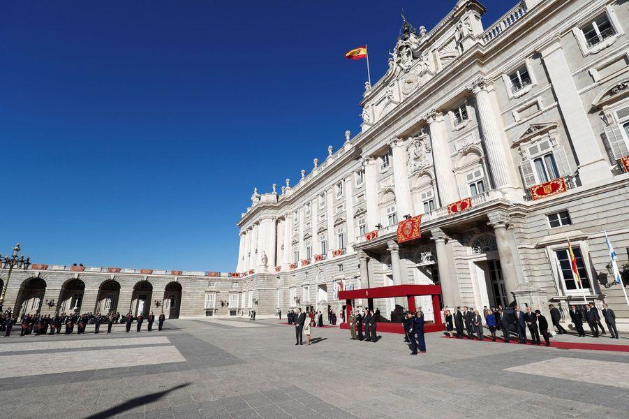 Le roi Felipe VI et la reine Letizia d'Espagne à Madrid, le 6 novembre 2017