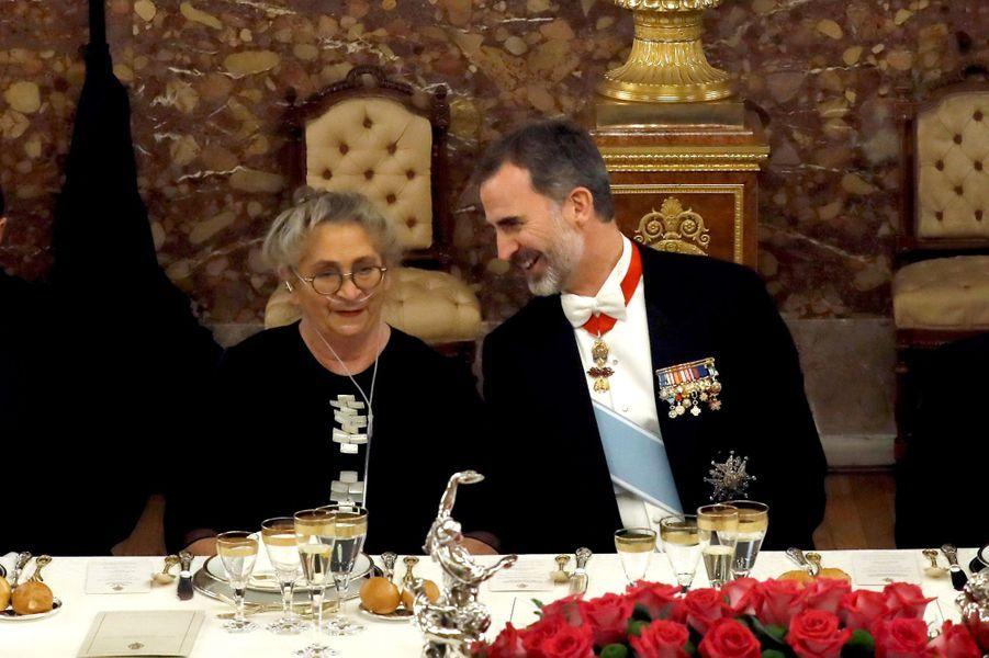 Le roi Felipe VI d'Espagne avec Nechama Rivlin à Madrid, le 6 novembre 2017