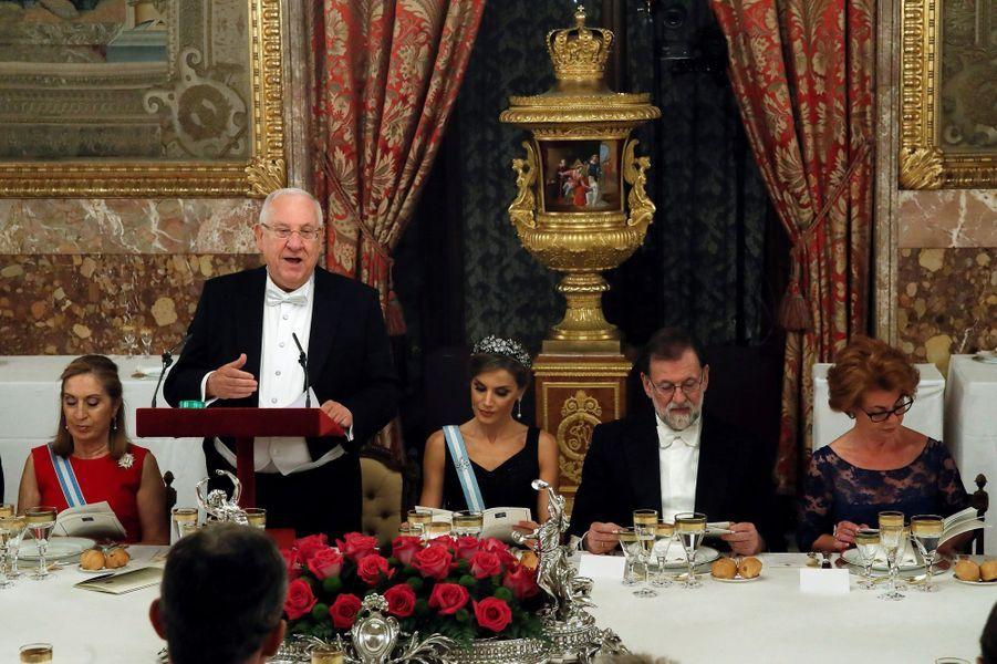 La reine Letizia d'Espagne et Reuven Rivlin à Madrid, le 6 novembre 2017