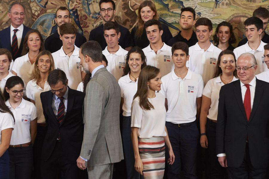 La reine Letizia et le roi Felipe VI d'Espagne à Madrid, le 5 juillet 2017