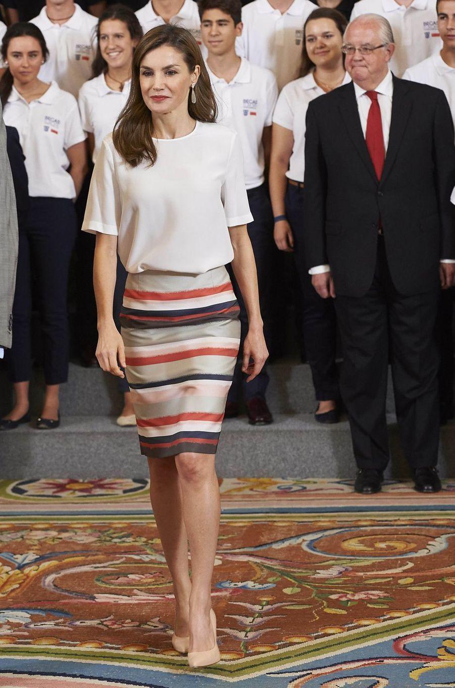 La reine Letizia d'Espagne à Madrid, le 5 juillet 2017