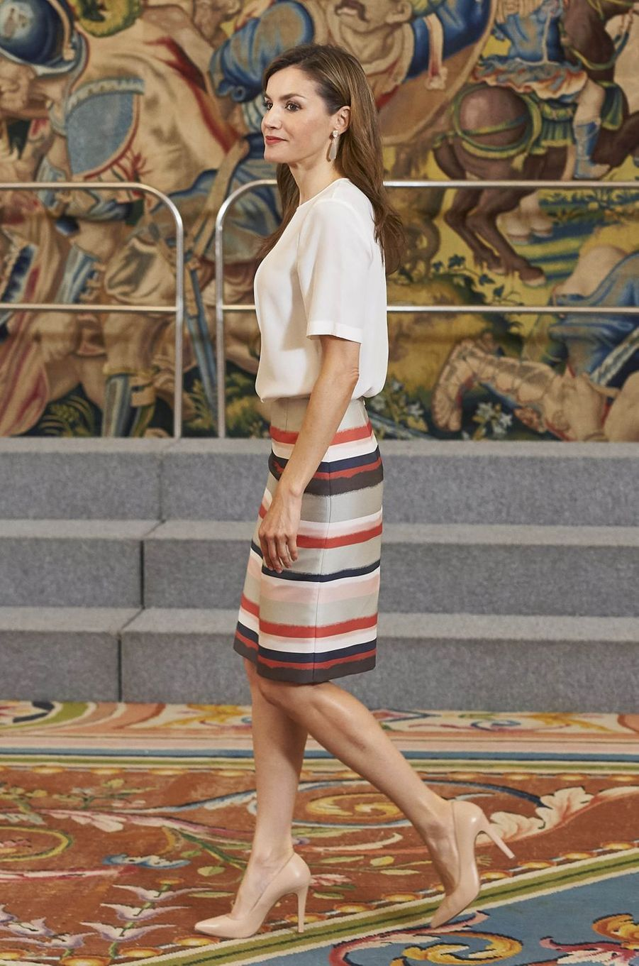 La reine Letizia d'Espagne au palais de la Zarzuela à Madrid, le 5 juillet 2017
