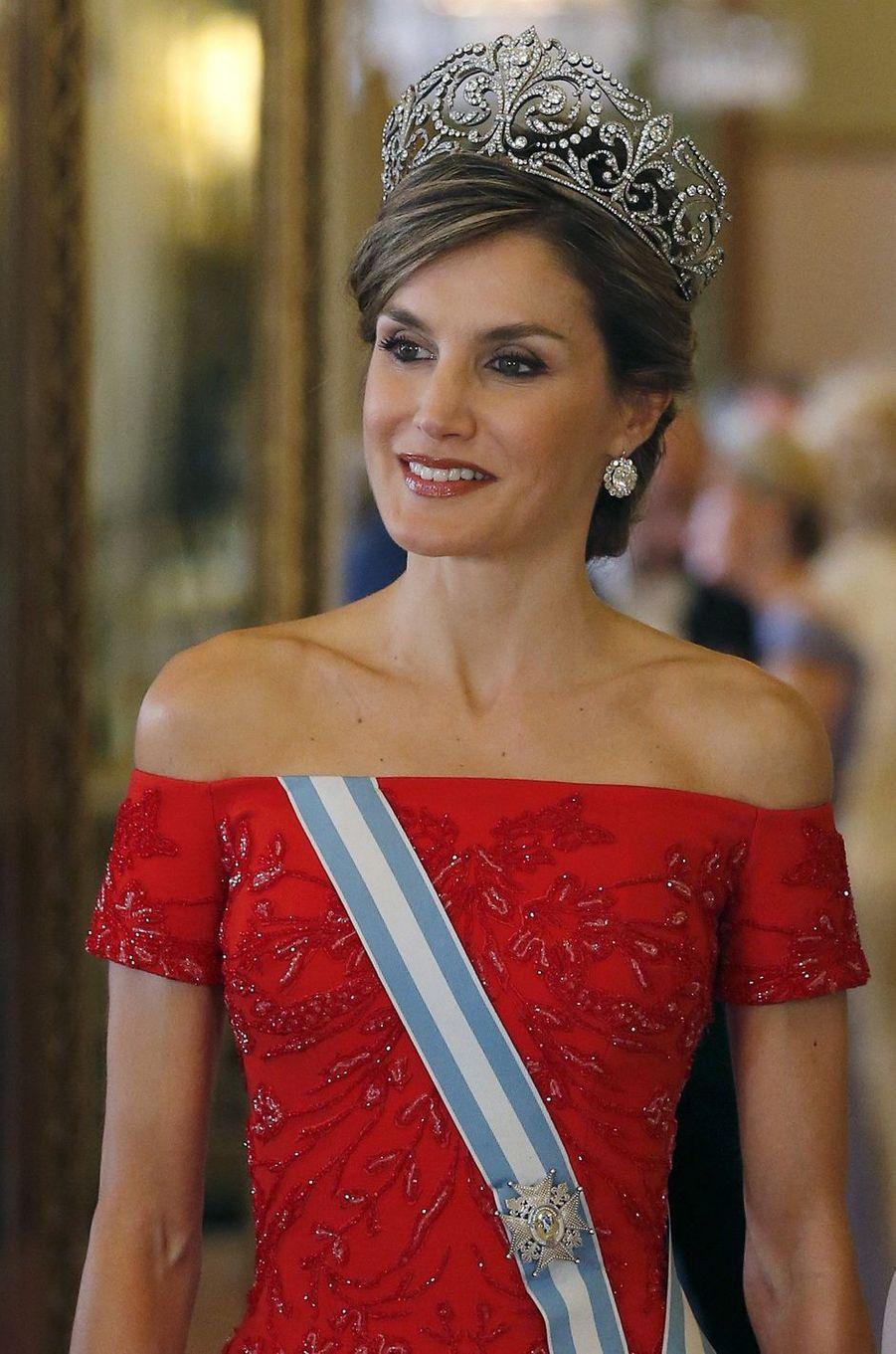La reine Letizia d'Espagne à Londres, le 12 juillet 2017