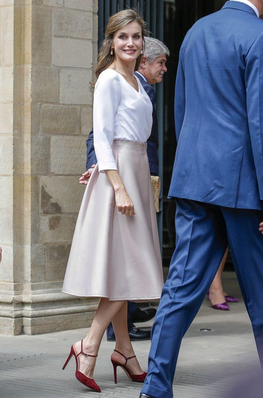 La reine Letizia d'Espagne à Oxford, le 14 juillet 2017