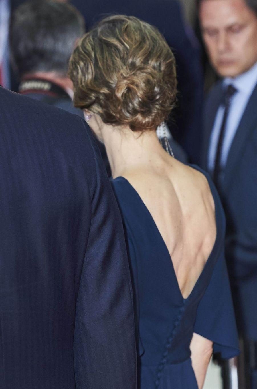 La reine Letizia d'Espagne à Madrid, le 5 mai 2016