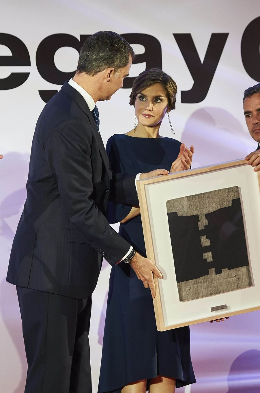 La reine Letizia et le roi Felipe VI d'Espagne à Madrid, le 5 mai 2016