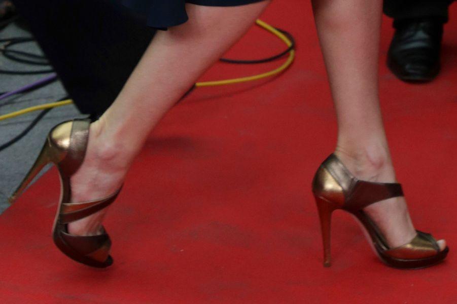 Les chaussures de la reine Letizia d'Espagne à Madrid, le 5 mai 2016