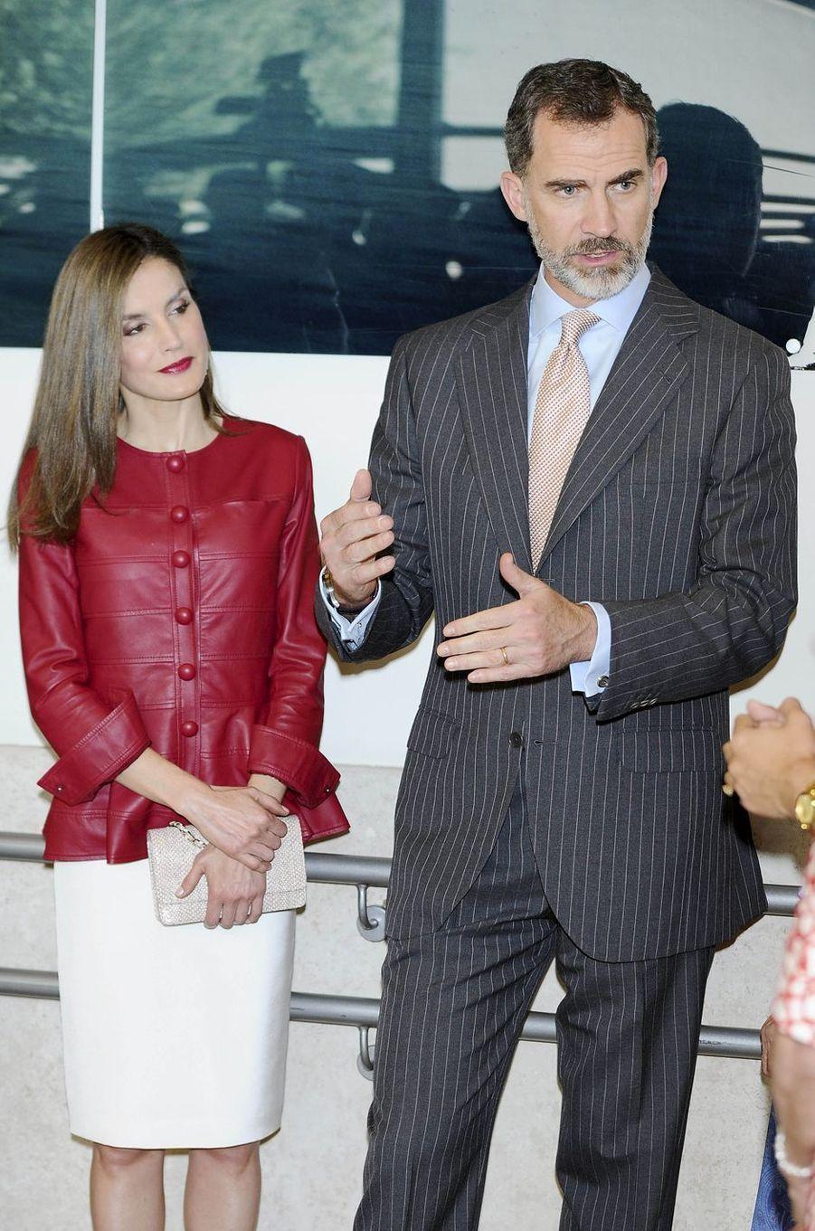 La reine Letizia et le roi Felipe VI d'Espagne à Madrid, le 22 mai 2017