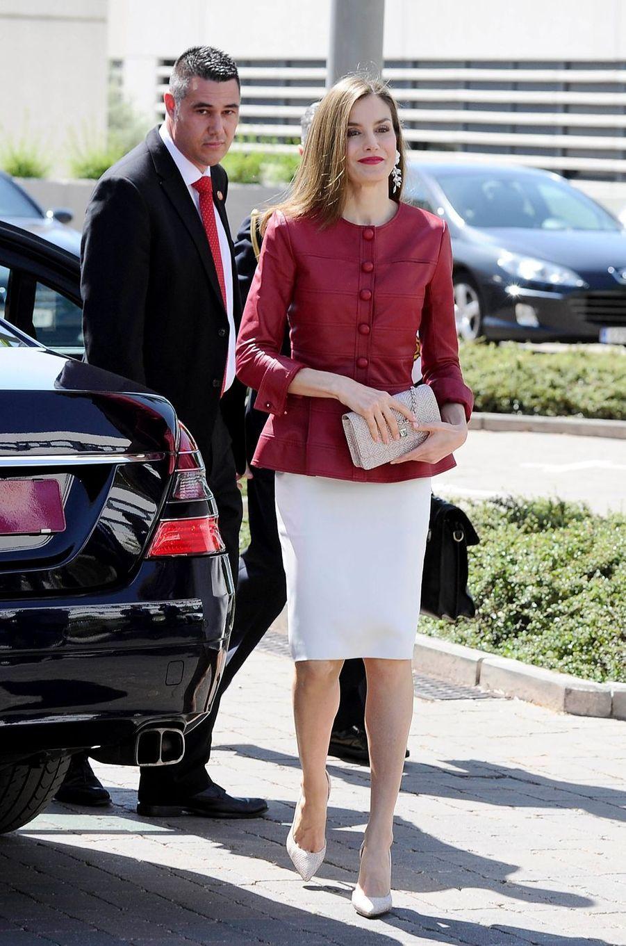 La reine Letizia d'Espagne à Madrid, le 22 mai 2017