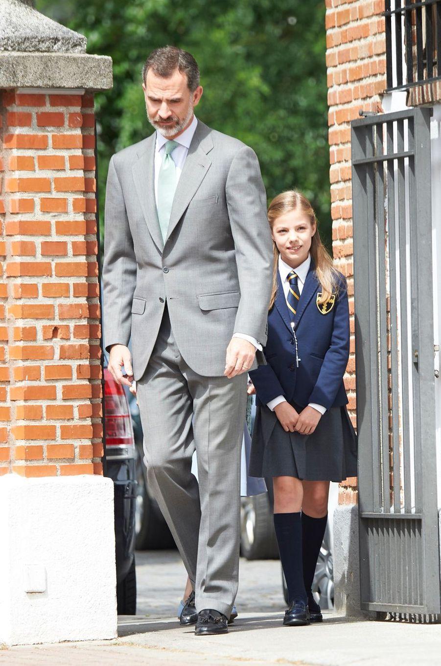 Le roi Felipe VI d'Espagne et la princesse Sofia à Madrid, le 17 mai 2017