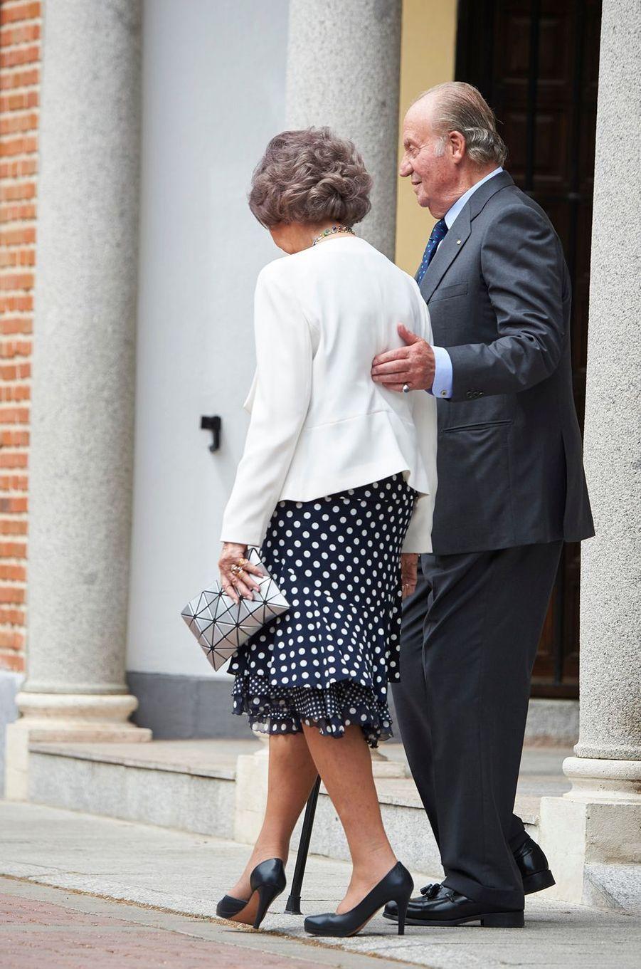 L'ancien roi Juan Carlos d'Espagne et l'ancienne reine Sofia à Madrid, le 17 mai 2017
