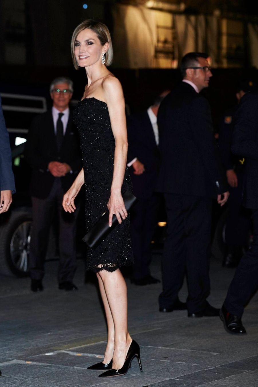 La reine Letizia d'Espagne à Madrid, le 20 avril 2015