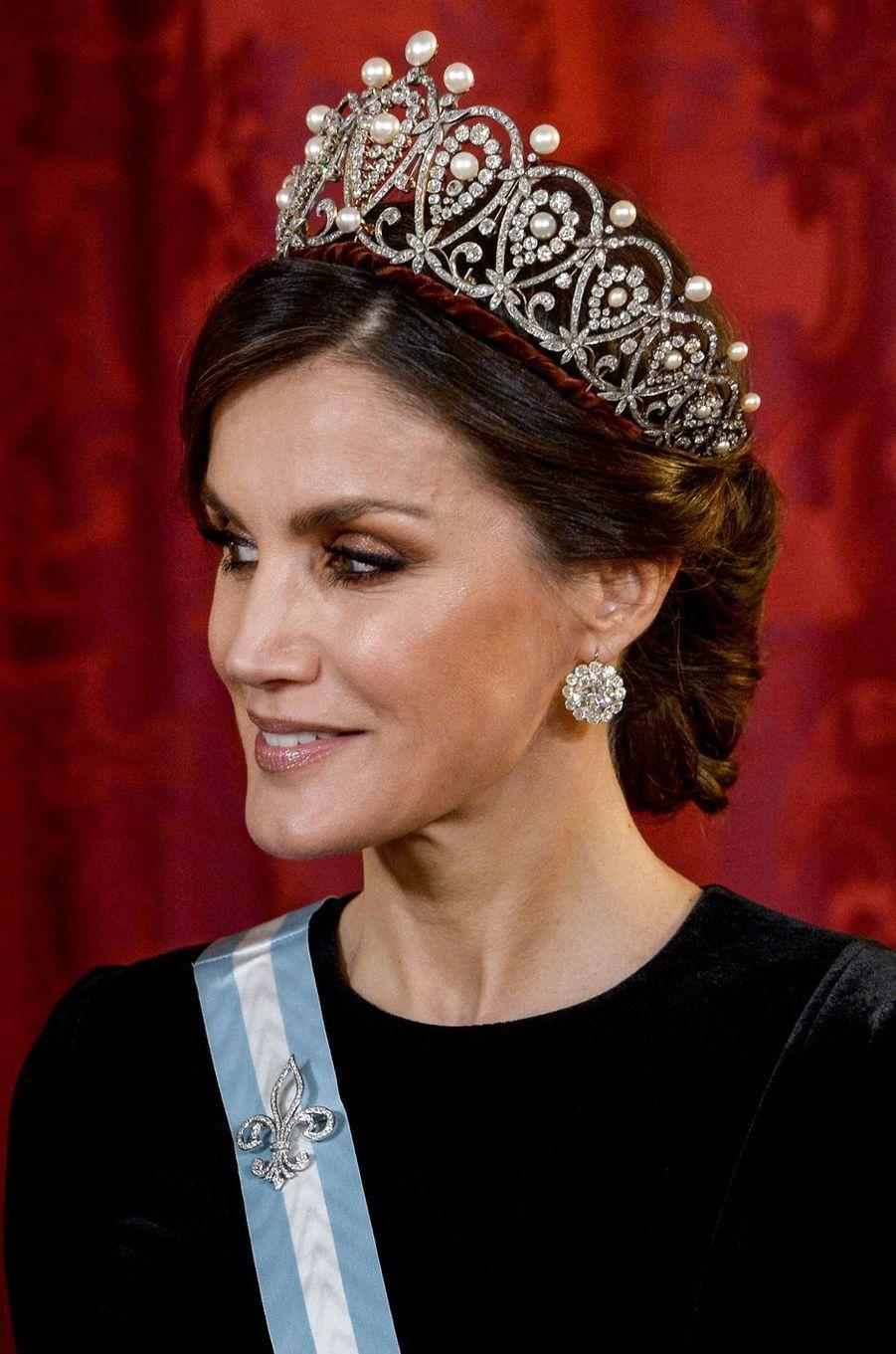 La reine Letizia d'Espagne à Madrid, le 28 novembre 2018