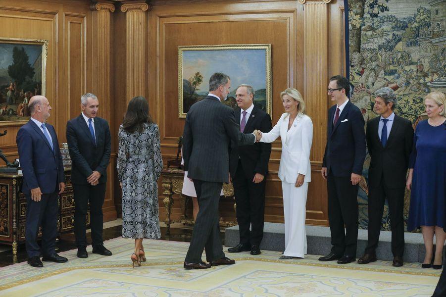 La reine Letizia et le roi Felipe VI d'Espagne à Madrid, le 8 octobre 2019