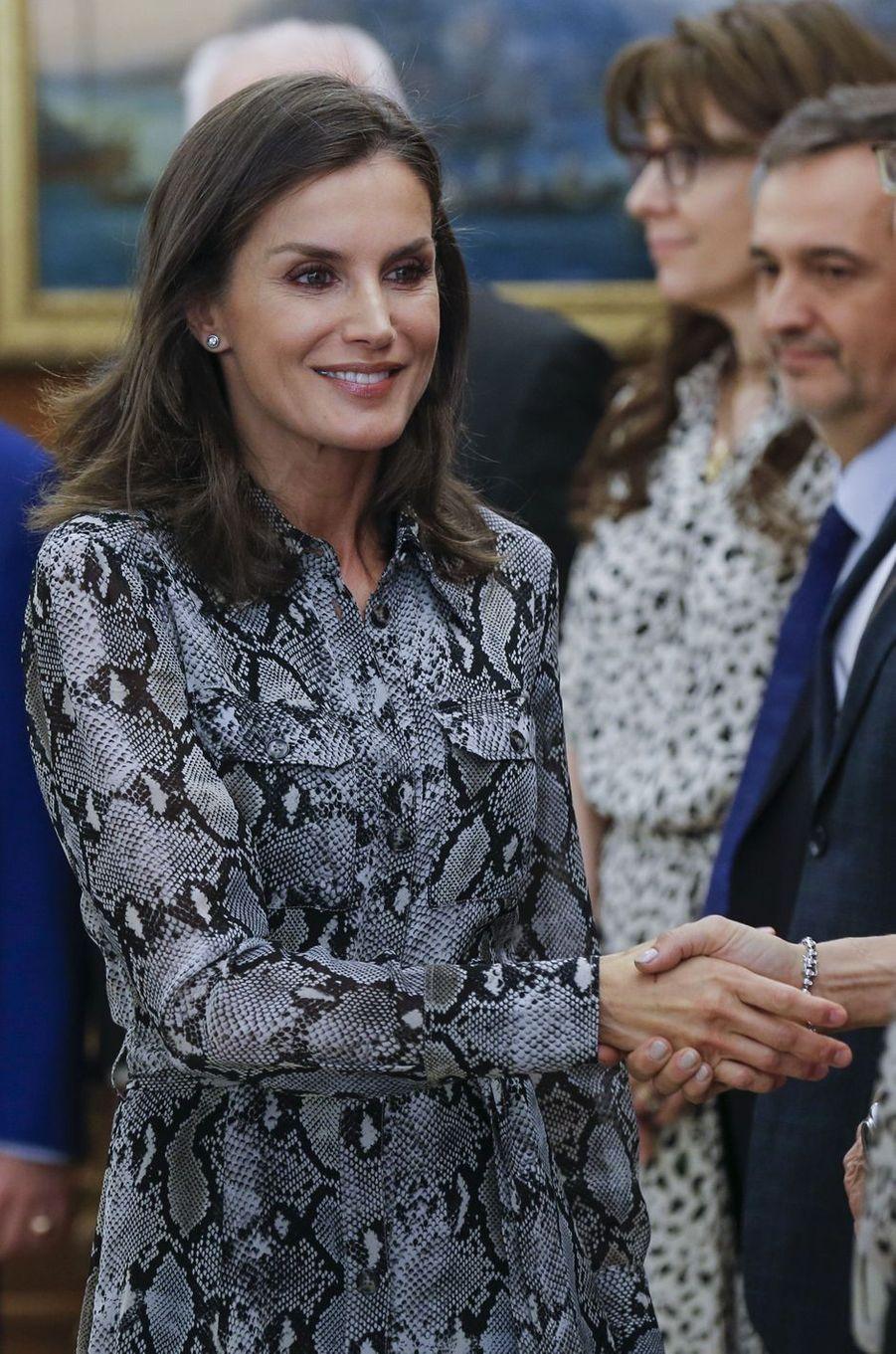 La reine Letizia d'Espagne en audience à Madrid, le 8 octobre 2019